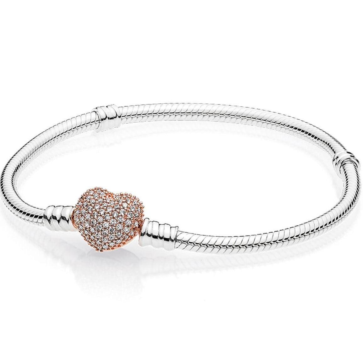 Moments Silver Bracelet Rose Pavè Heart