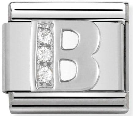 Letter B Silver Shine
