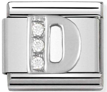 Letter D Silver Shine