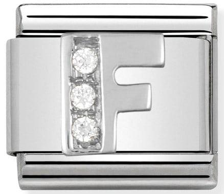 Letter F Silver Shine