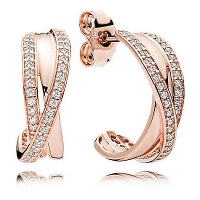 Rose intertwined hoop earrings