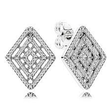 Pandora geometric lines stud earrings
