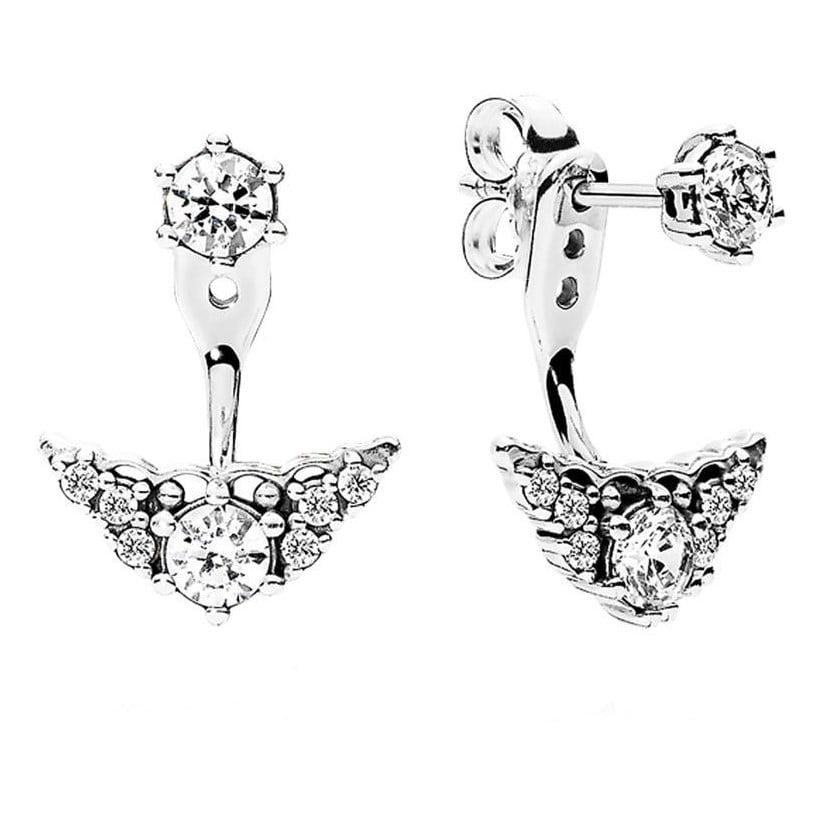 Sparkling Tiara Crown Jacket Stud earrings